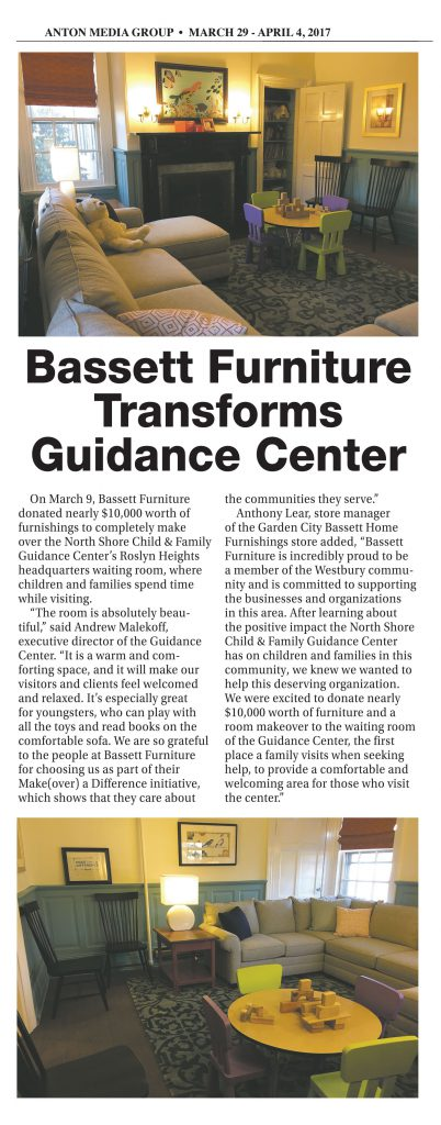 "Bassett Furniture Transforms Guidance Center Waiting Room in ""Make(over) a Difference"""