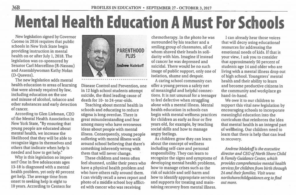 Mental Health Education A Must For Schools