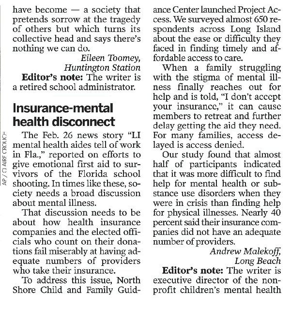 Letter to Newsday