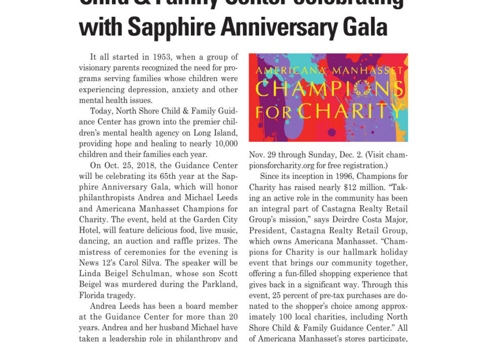 """""""Guidance Center Celebrating with Sapphire Anniversary Gala,"""" from Long Island Business News, Oct. 5, 2018"""