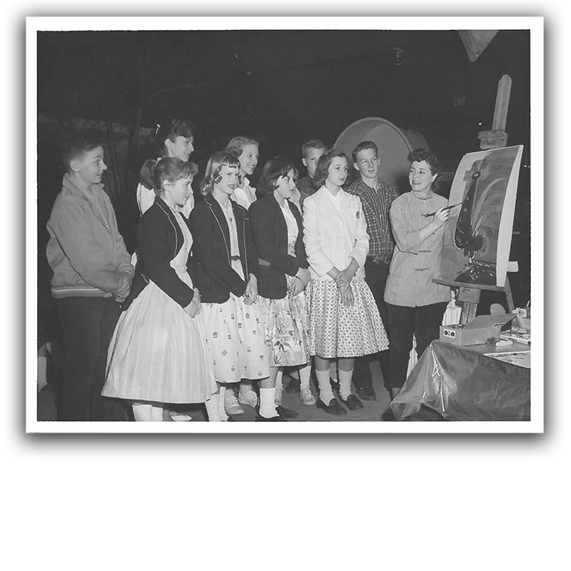 art therapy workshop in 1950s or 1960s