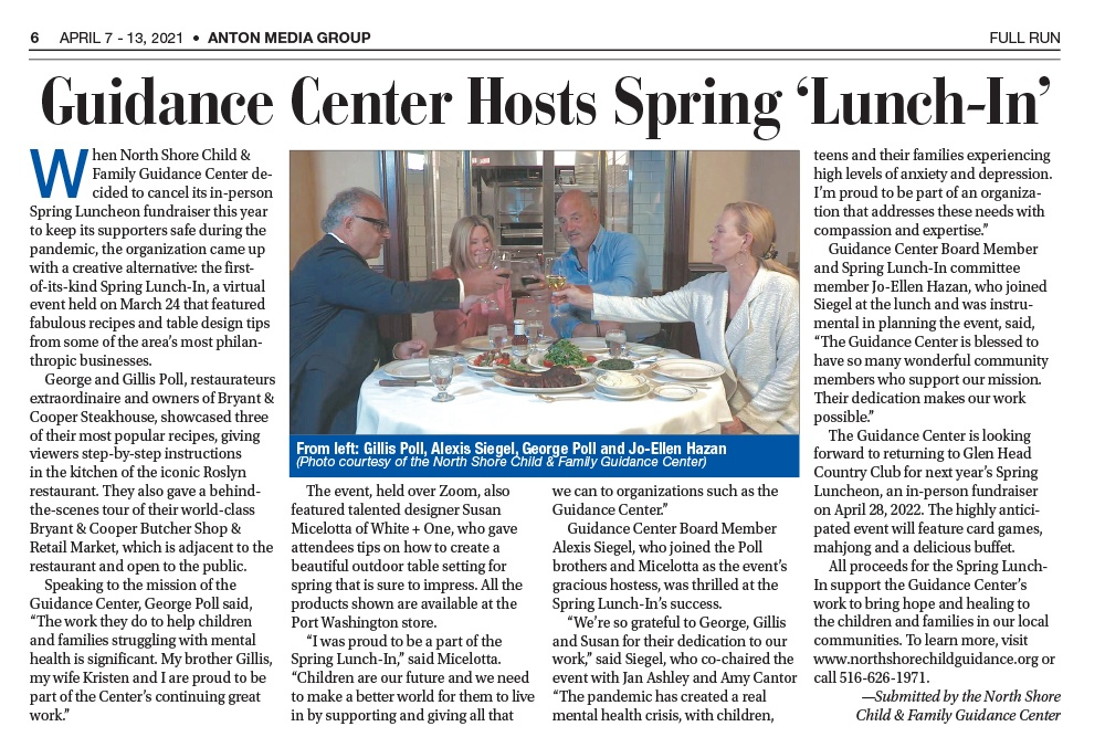 Guidance Center Hosts Spring 'Lunch-In, Anton Media, April 7, 2021