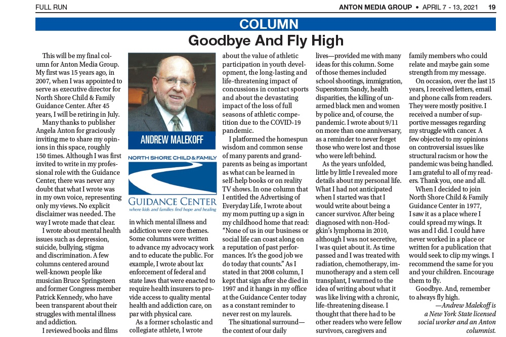 Goodbye and Fly High, By Andrew Malekoff, Anton Media, April 7, 2021